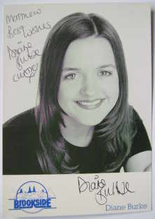 Diane Burke autograph (hand-signed Katie Rogers cast card, dedicated)
