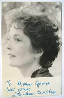 Barbara Shelley autograph (hand-signed photograph, dedicated)