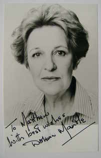 Doreen Mantle autograph (hand-signed photograph, dedicated)