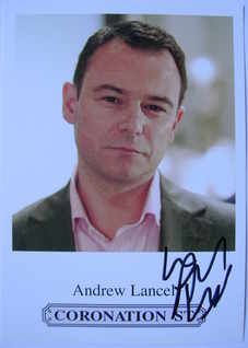 Andrew Lancel autograph (hand-signed cast card)