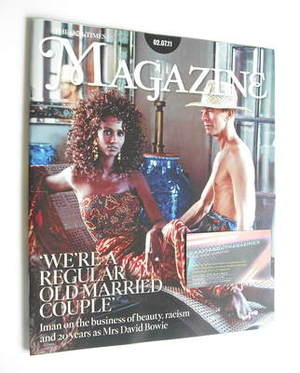 <!--2011-07-02-->The Times magazine - David Bowie and Iman cover (2 July 20
