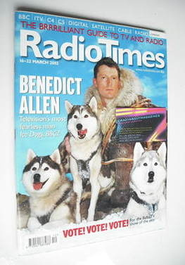 <!--2002-03-16-->Radio Times magazine - Benedict Allen cover (16-22 March 2