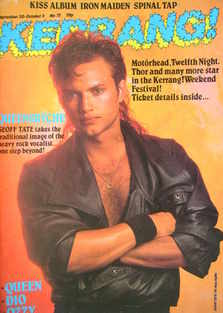 <!--1984-09-20-->Kerrang magazine - Geoff Tate cover (20 September - 3 Octo