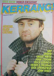 <!--1984-02-23-->Kerrang magazine - Phil Collins cover (23 February - 7 Mar