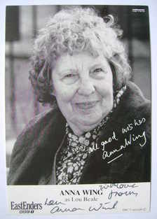 Anna Wing autograph (ex EastEnders actor)