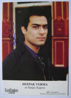 Deepak Verma autograph (ex EastEnders actor)