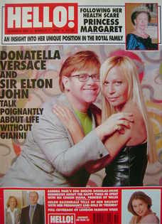 <!--1998-03-07-->Hello! magazine - Sir Elton John and Donatella Versace cov