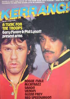 <!--1985-05-16-->Kerrang magazine - Gary Moore and Phil Lynott cover (16-29