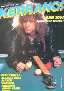 <!--1985-04-18-->Kerrang magazine - Jon Bon Jovi cover (18 April - 1 May 19