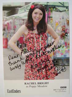 Rachel Bright autograph (EastEnders actor)