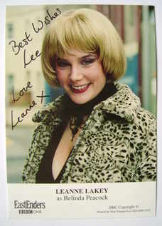 Leanne Lakey autograph (ex EastEnders actor)