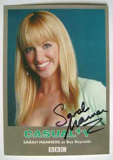 Sarah Manners autograph (ex-Casualty actor)