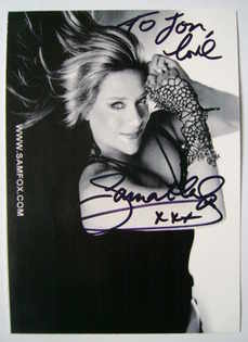 Samantha Fox autograph