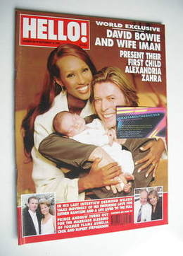 <!--2000-09-19-->Hello! magazine - David Bowie and Iman and baby Alexandria