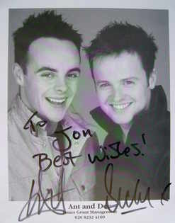 Ant and Dec autographs (hand-signed photograph, dedicated)