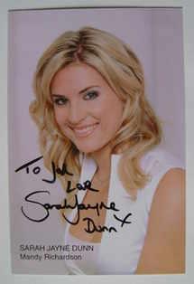 Sarah Jayne Dunn autograph (ex Hollyoaks actor)