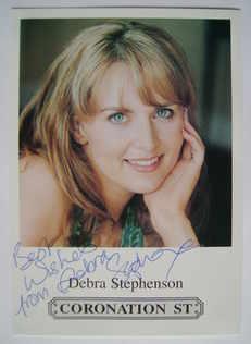 Debra Stephenson autograph (hand-signed Frankie Baldwin cast card)