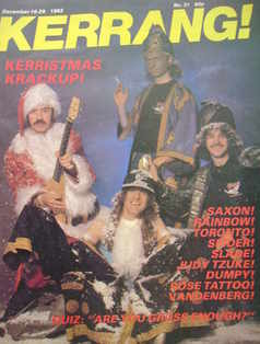 <!--1982-12-16-->Kerrang magazine - Saxon cover (16-29 December 1982 - Issu