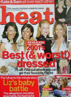 Heat magazine - 2001's Best (& Worst!) Dressed cover (15-21 December 2001 - Issue 147)