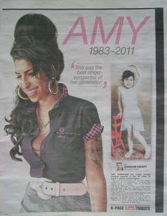 The Sun newspaper supplement - Amy Winehouse (25 July 2011)