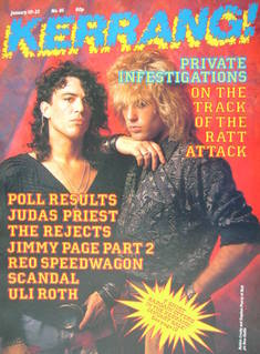 <!--1985-01-10-->Kerrang magazine - Robbin Crosby and Stephen Pearcy cover