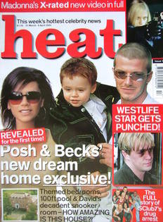 <!--2001-03-31-->Heat magazine - David, Victoria and Brooklyn Beckham cover