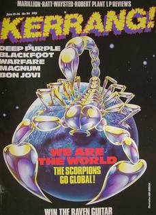 <!--1985-06-13-->Kerrang magazine - The Scorpions Go Global! cover (13-26 J
