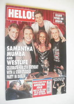 <!--2002-02-10-->Hello! magazine - Samantha Mumba and Westlife cover (10 Fe