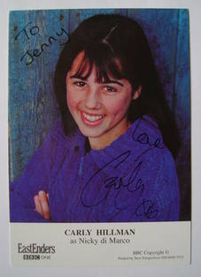 Carly Hillman autograph (ex EastEnders actor)