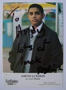 Ashvin Luximon autograph (ex EastEnders actor)