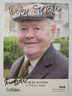 Dudley Sutton autographed photo (hand-signed EastEnders cast card)