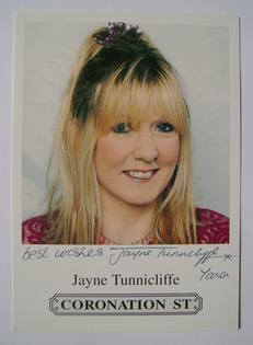 Jayne Tunnicliffe autographed photo (ex Coronation Street actor)