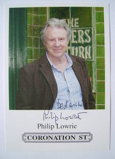 Philip Lowrie autographed photo (Coronation Street actor)