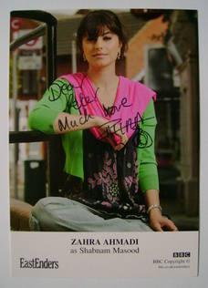 Zahra Ahmadi autograph (ex EastEnders actor)