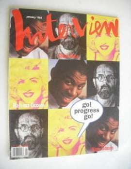 Interview magazine - January 1992 - Madonna, Magic Johnson and Chuck Close cover