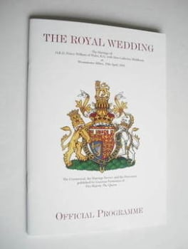 Prince William and Kate Middleton Royal Wedding Official Programme