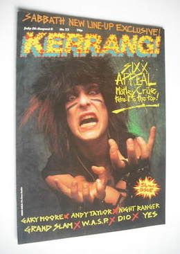<!--1984-07-26-->Kerrang magazine - Nikki Six cover (26 July - 8 August 198