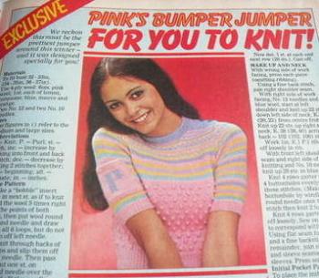 Sweater knitting pattern (from Pink magazine 1975)