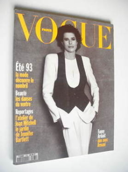 French Paris Vogue magazine - April 1993 - Fanny Ardant cover