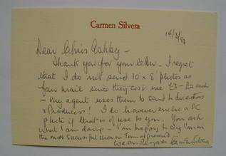 Carmen Silvera autograph (hand-signed card)