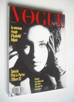 French Paris Vogue magazine - February 1992 - Isabelle Adjani cover
