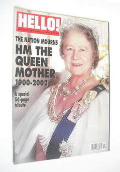 Hello! magazine supplement - The Queen Mother cover (9 April 2002 - Issue 7