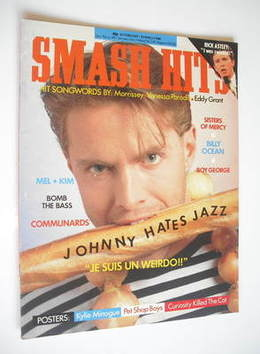 <!--1988-02-24-->Smash Hits magazine - Johnny Hates Jazz cover (24 February