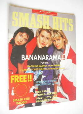 <!--1987-10-07-->Smash Hits magazine - Bananarama cover (7-20 October 1987)