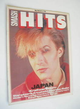 <!--1982-02-04-->Smash Hits magazine - David Sylvian cover (4-17 February 1