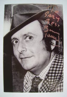 Barry Humphries autograph (hand-signed photograph, dedicated)