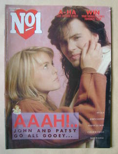 <!--1986-02-15-->No 1 Magazine - Patsy Kensit and John Taylor cover (15 Feb