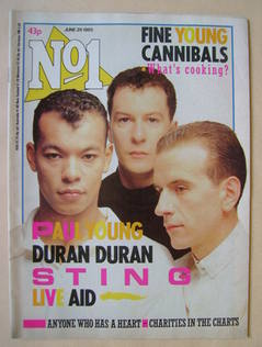 <!--1985-06-29-->No 1 Magazine - Fine Young Cannibals cover (29 June 1985)