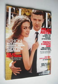 US Elle magazine - August 2011 - Justin Timberlake and Mila Kunis cover