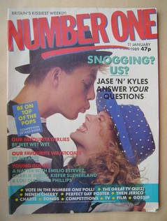<!--1989-01-11-->NUMBER ONE Magazine - Jason Donovan and Kylie Minogue cove